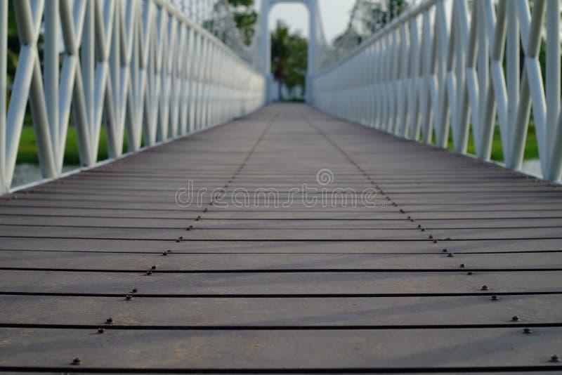Hängebrücke im Park stockfotos