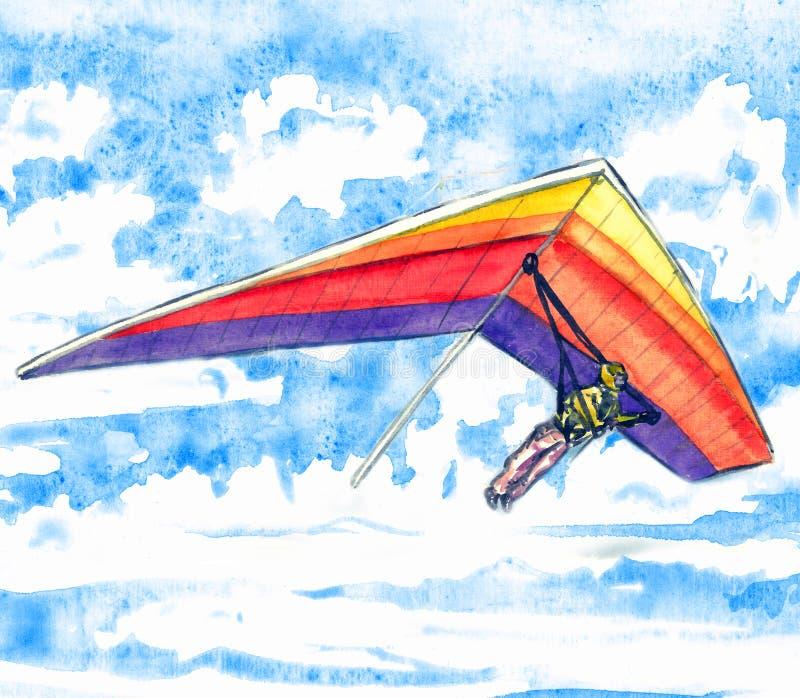Hängegleiter auf einem hellen bunten Flugzeug, Himmel mit Wolken gestalten in der weichen Farbpalette, handgemaltes Aquarell land stock abbildung