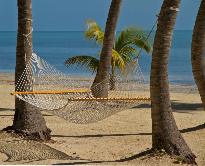 Hängematte auf dem Strand lizenzfreie stockfotografie