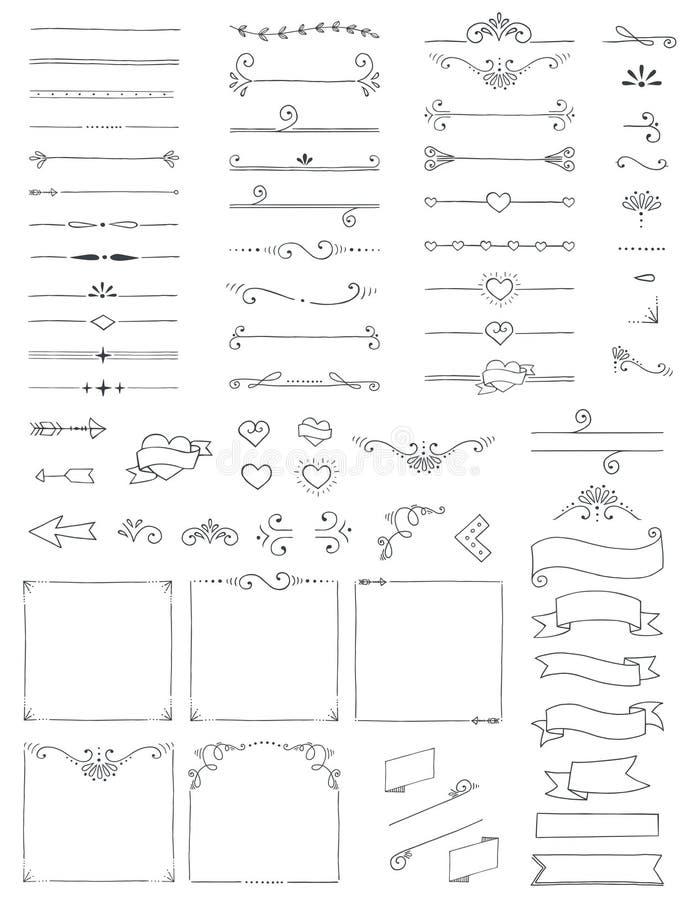 Hängematte Doodle-Dividenden-Grenzen Pfeile wirbeln Ecken und Banner lizenzfreie abbildung
