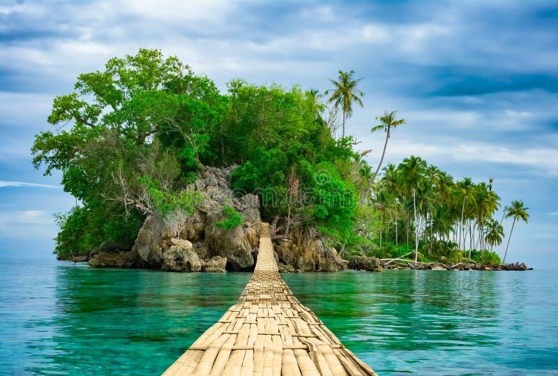 Hängende Bambusbrücke über Meer zur Tropeninsel lizenzfreies stockfoto