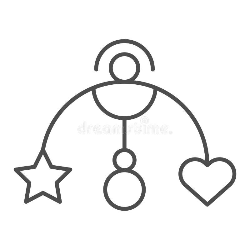 Hängende dünne Linie Ikone des Spielzeugs des Babys Babykrippenspielzeug-Vektorillustration lokalisiert auf Weiß Beweglicher Entw stock abbildung