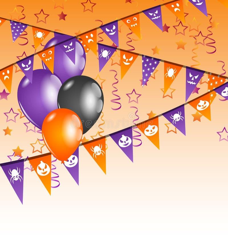 Hängende Flaggen und Ballone für Halloween-Partei lizenzfreie abbildung