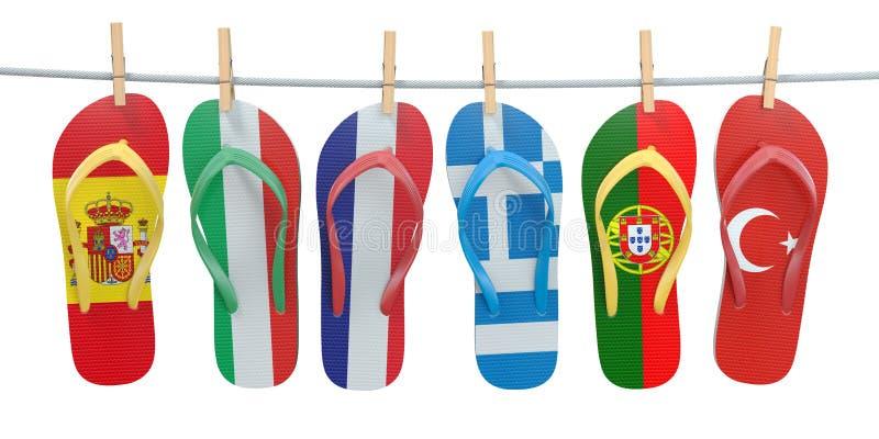 Hängende Flipflops in den Farben des unterschiedlichen Mittelmeer-europea stock abbildung