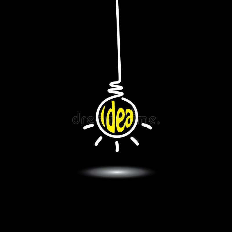 Hängende Glühlampe der Idee - Konzeptvektor stock abbildung