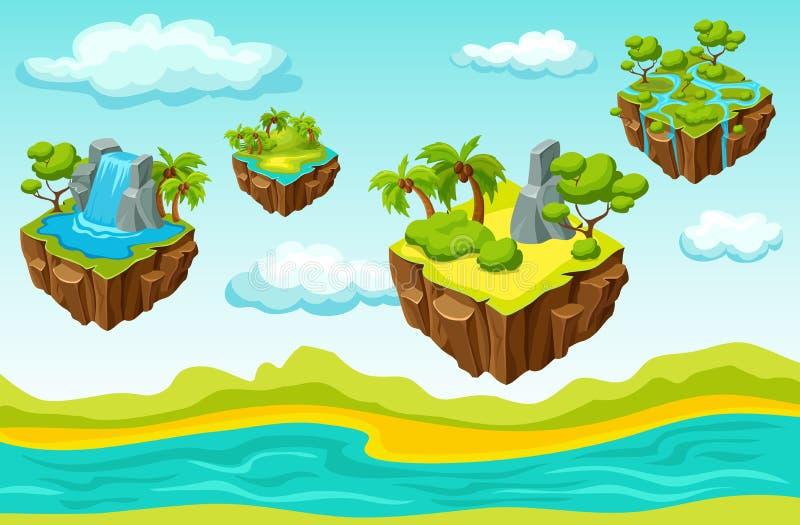 Hängende Insel-Spiel-Niveau-isometrische Schablone vektor abbildung
