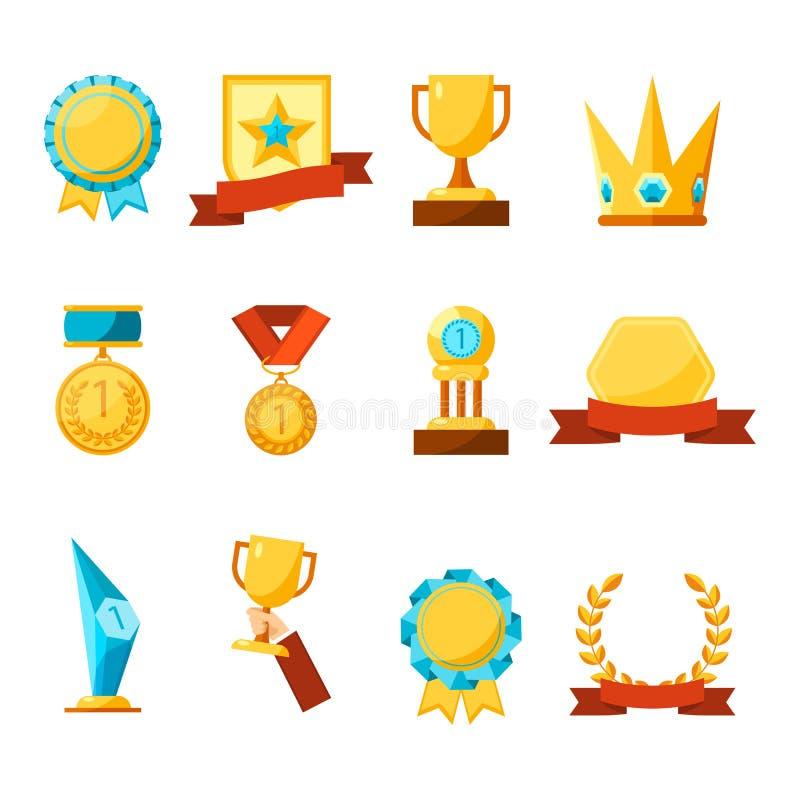 Hängende Medaillen, Glaspreise, Goldschalen und Kronensammlung stock abbildung
