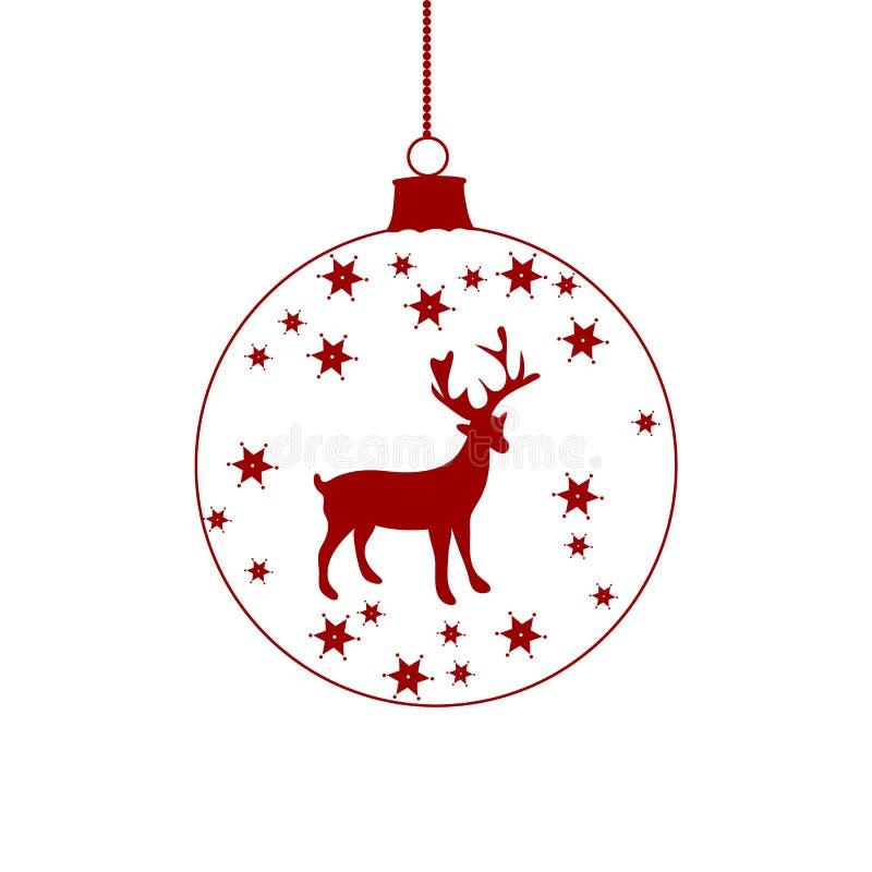 Hängende rote Weihnachtsballikone Säubern Sie Zeilen vektor abbildung