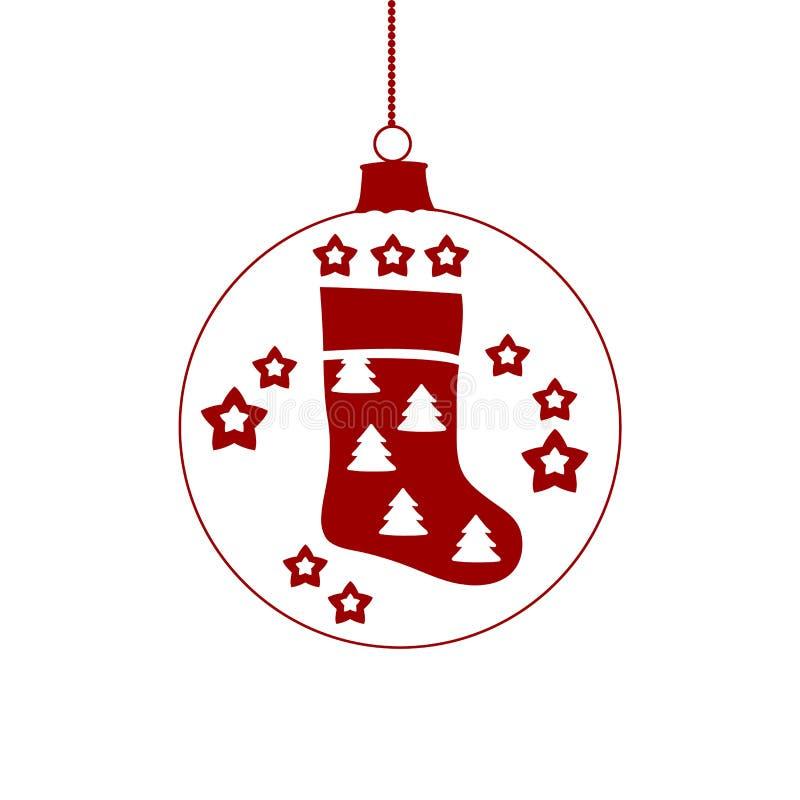 Hängende rote Weihnachtsballikone Säubern Sie Zeilen stock abbildung