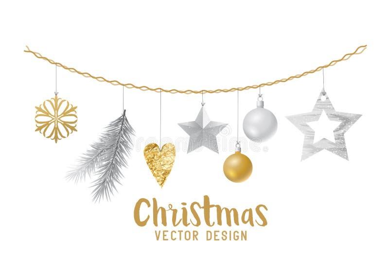 Hängende Silber und Goldweihnachtsdekorationen lizenzfreie abbildung