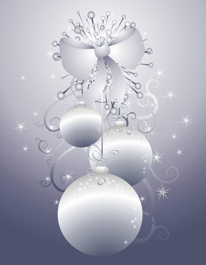 Hängende silberne Weihnachtsverzierungen 2 vektor abbildung