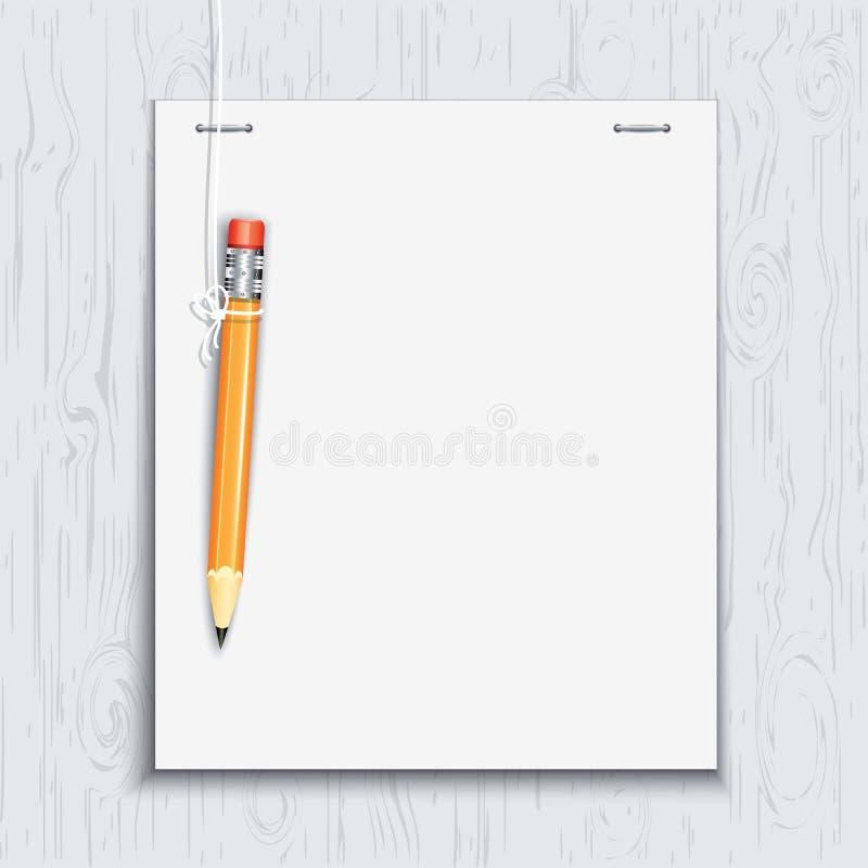 Hängender Bleistift durch das Papierblatt vektor abbildung