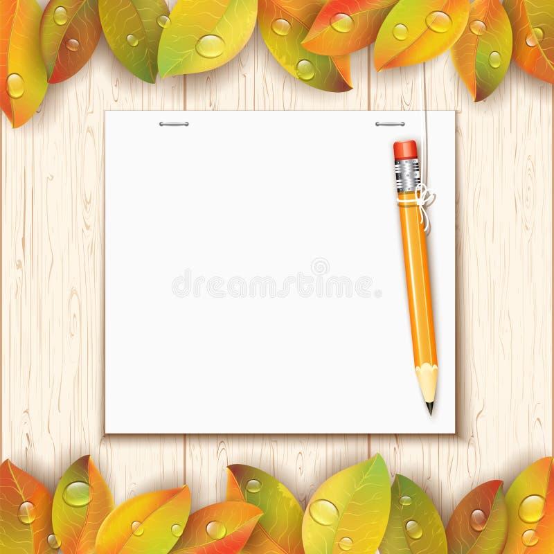 Hängender Bleistift durch das Papierblatt stock abbildung