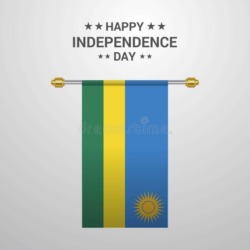 Hängender Flaggenhintergrund Ruanda-Unabhängigkeitstags stock abbildung