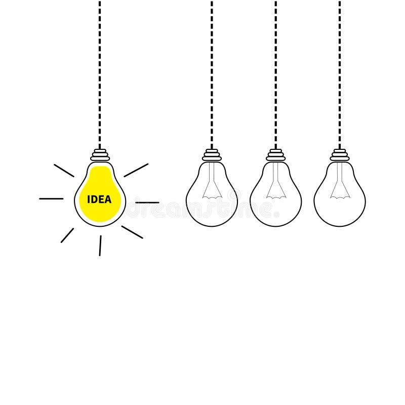 Hängender Glühlampeikonensatz Unaufhörliche Bewegung Schalten Sie sich weg von der Lampe an Ideentext Glänzender Effekt Flaches D vektor abbildung