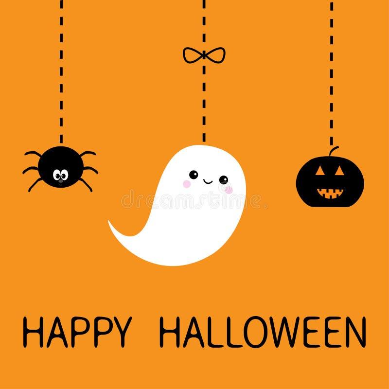 Hängender lächelnder trauriger schwarzer Kürbis, Spinne, weißes Geistgeist-Insektenschattenbild Glückliche Halloween-Gruß-Karte S lizenzfreie abbildung