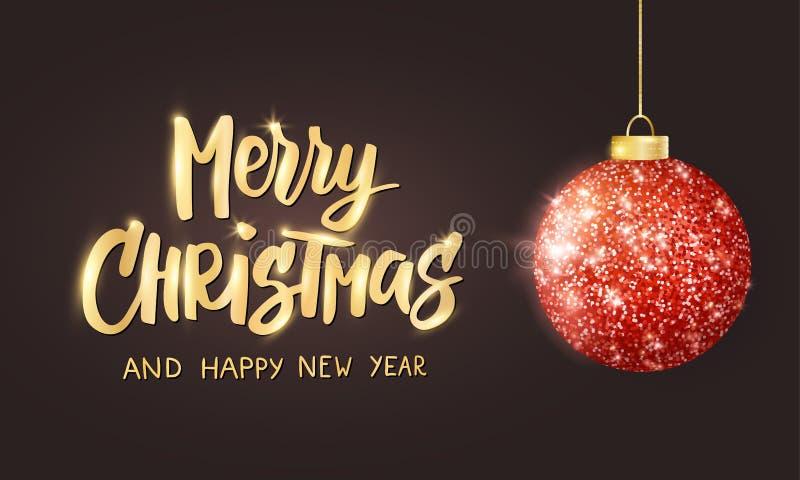 Hängender Weihnachtsroter Ball auf schwarzem Hintergrund Funkelnder Metallfunkelnflitter Frohe Weihnacht-Hand gezeichneter Text stock abbildung