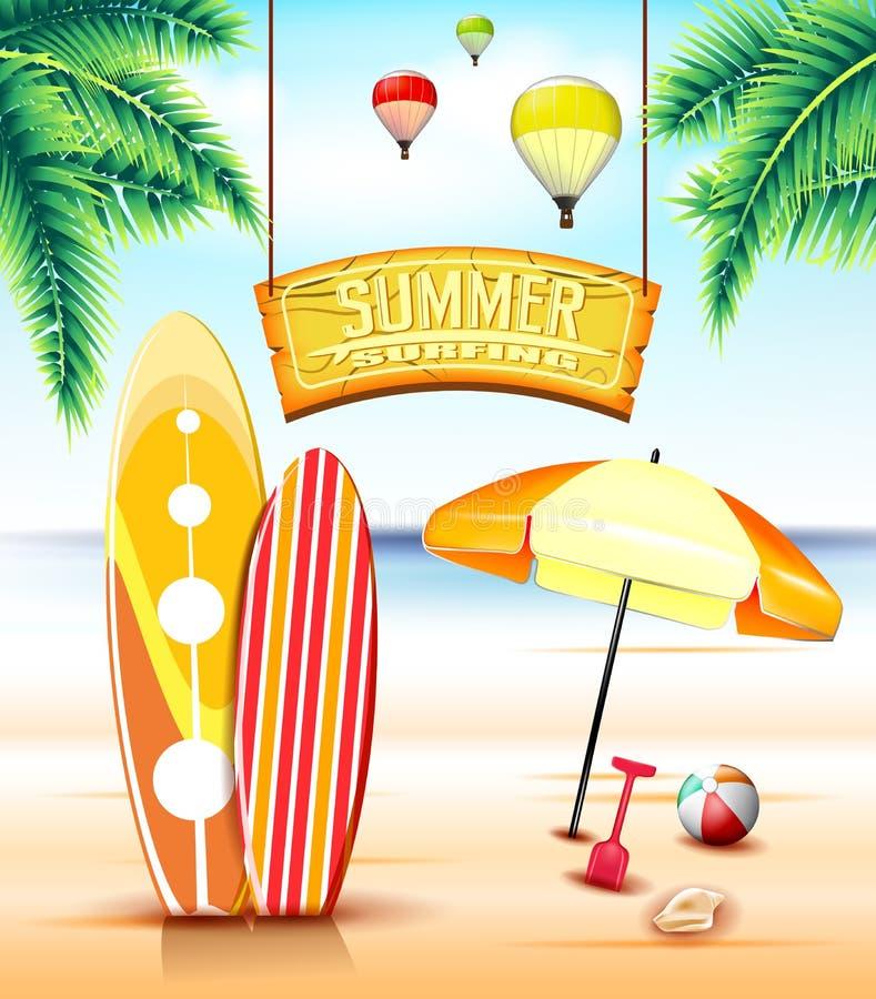 Hängendes Bogen-Zeichen für den Sommer, der am Strand mit Surfbrettern surft lizenzfreie abbildung