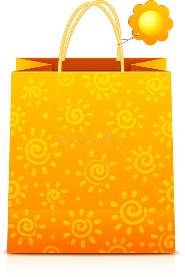 Hänger lös pappers- shopping för apelsinen med soligt mönstrar royaltyfri illustrationer
