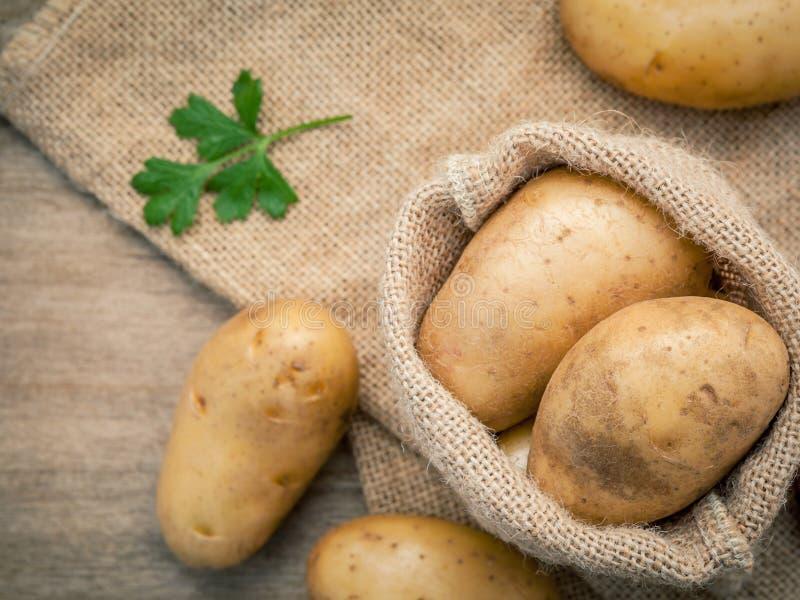 Hänger löst nya organiska potatisar för Closeup i hampaskull med persilja på royaltyfri fotografi