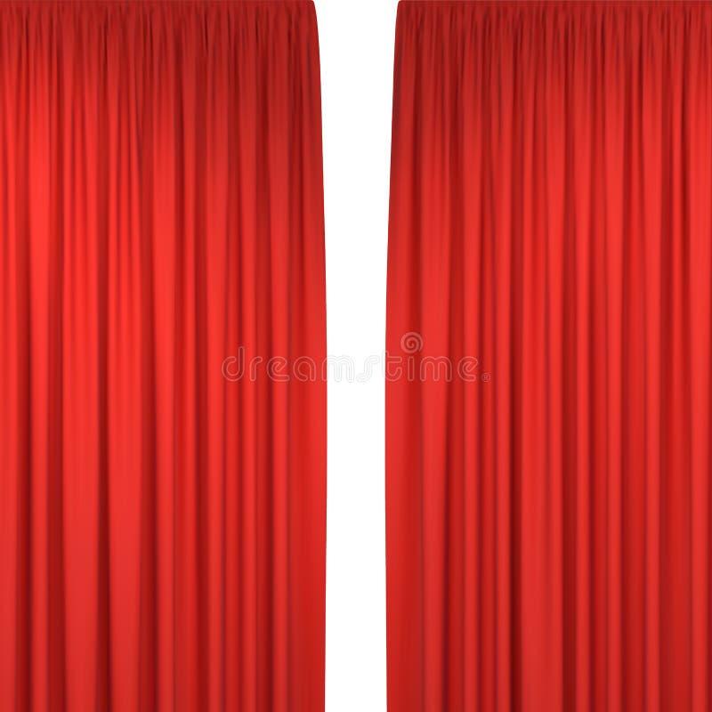 hänger upp gardiner den röda etappen royaltyfri illustrationer