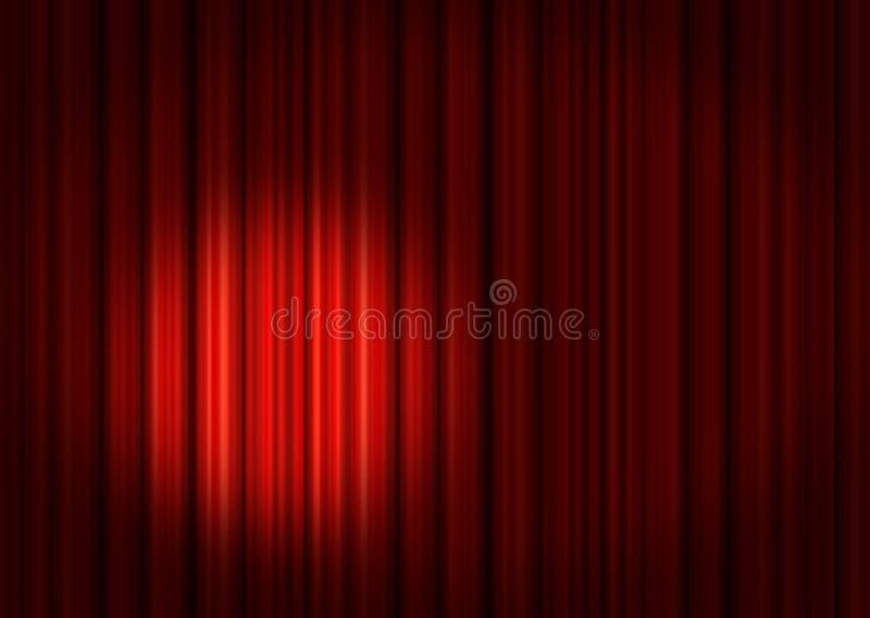 hänger upp gardiner den röda strålkastareetappen stock illustrationer