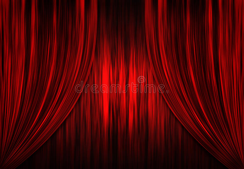 hänger upp gardiner den röda teatertheatren vektor illustrationer