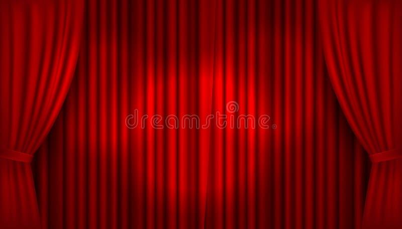 Hänger upp gardiner den realistiska upplysta etappen för vektorn med öppen röd sammet vektor illustrationer