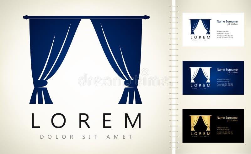 Hänger upp gardiner logo stock illustrationer