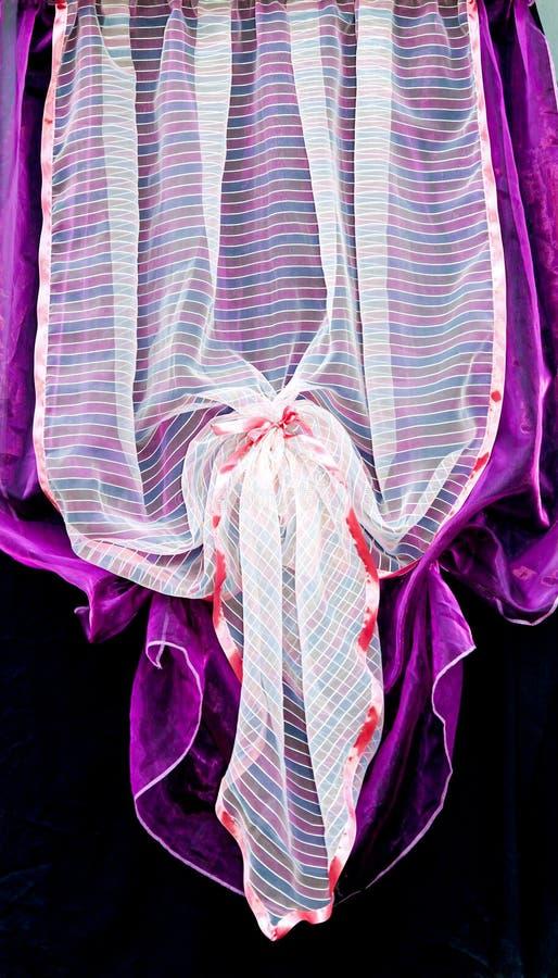 hänger upp gardiner purple royaltyfri foto