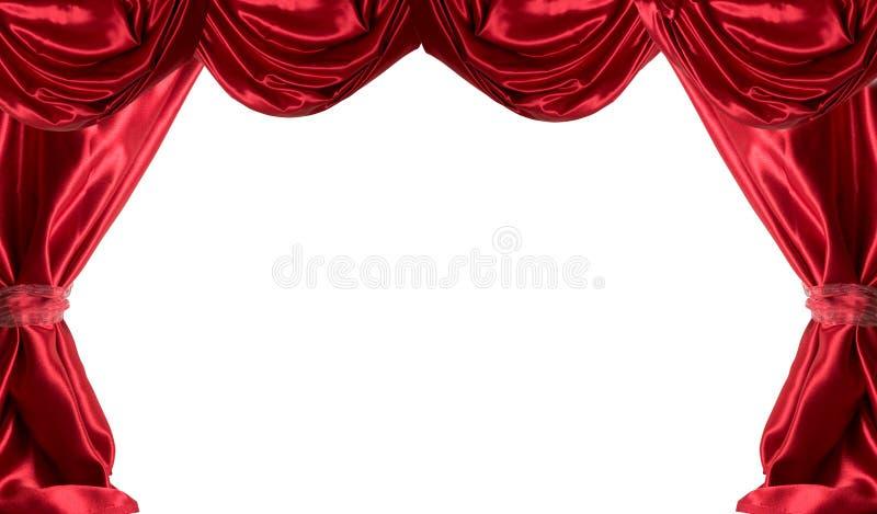 hänger upp gardiner red arkivfoto