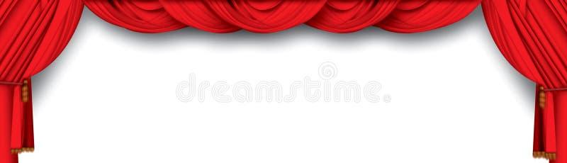 hänger upp gardiner theatren royaltyfri illustrationer