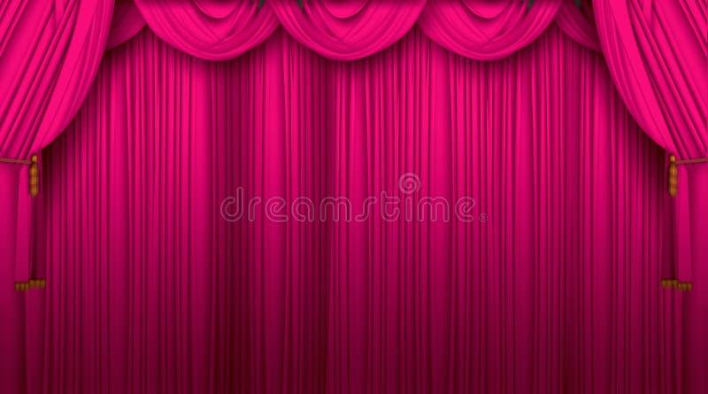 hänger upp gardiner theatren stock illustrationer