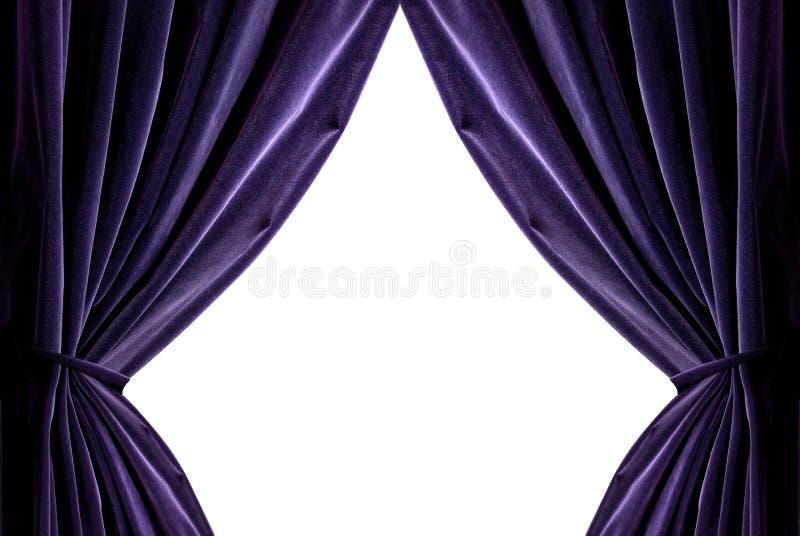 hänger upp gardiner violeten royaltyfria foton