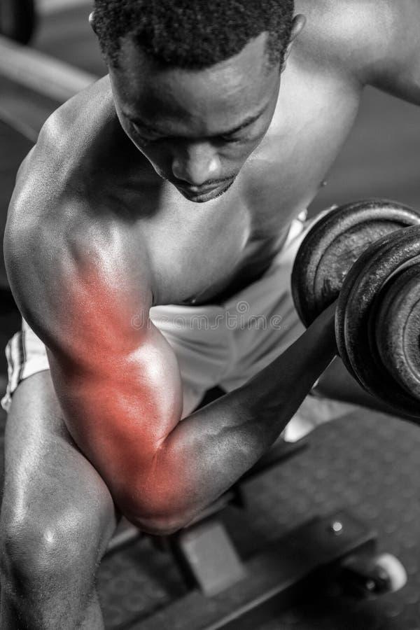 Hängiven shirtless manlig idrottsman nen som gör övning på idrottshallen royaltyfri foto