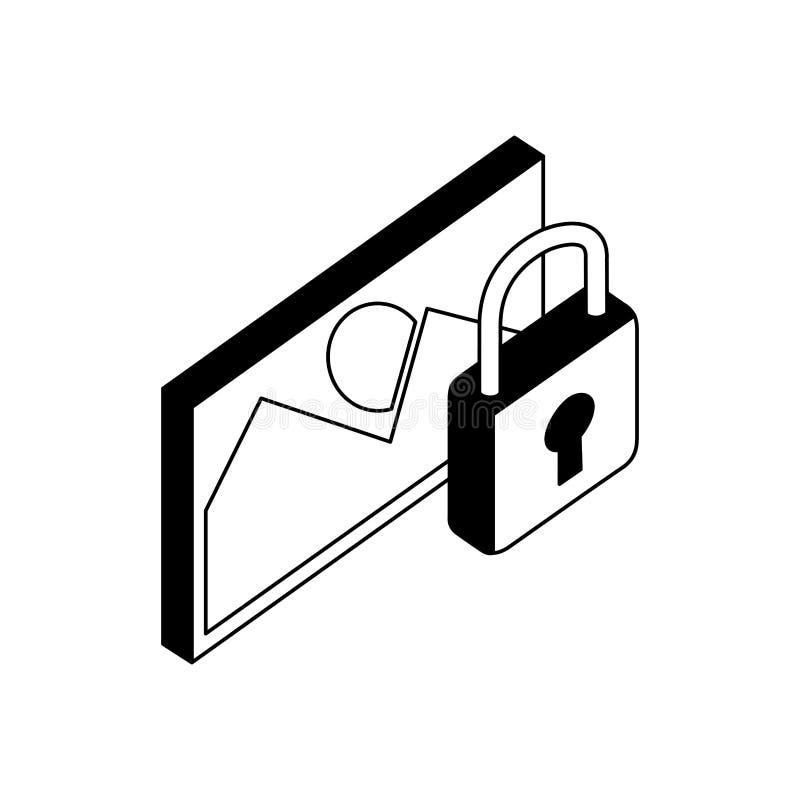 Hänglås för datasäkerhet med bilden royaltyfri illustrationer