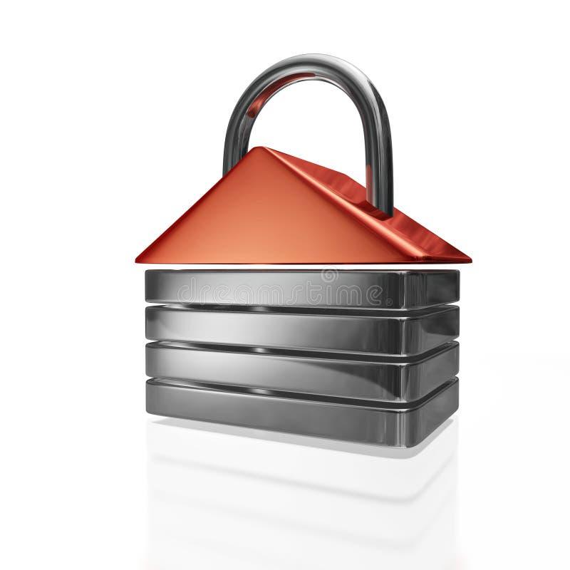 Hänglås för husShape säkerhet royaltyfri illustrationer