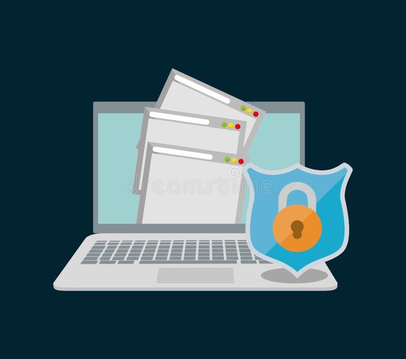 hänglås för rengöringsduk för sida för mapp för internetsäkerhetsdokument stock illustrationer