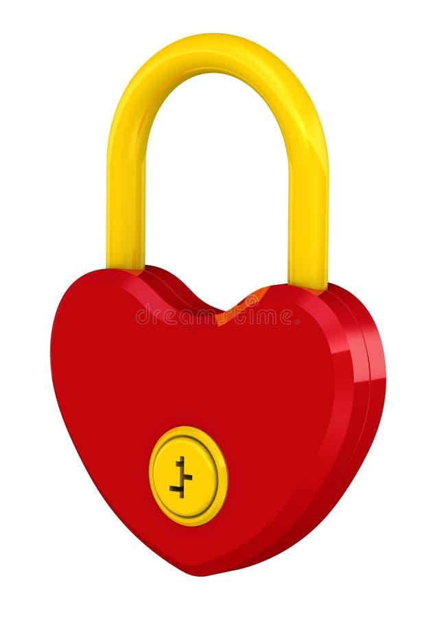 Hänglås i formen av hjärta stock illustrationer