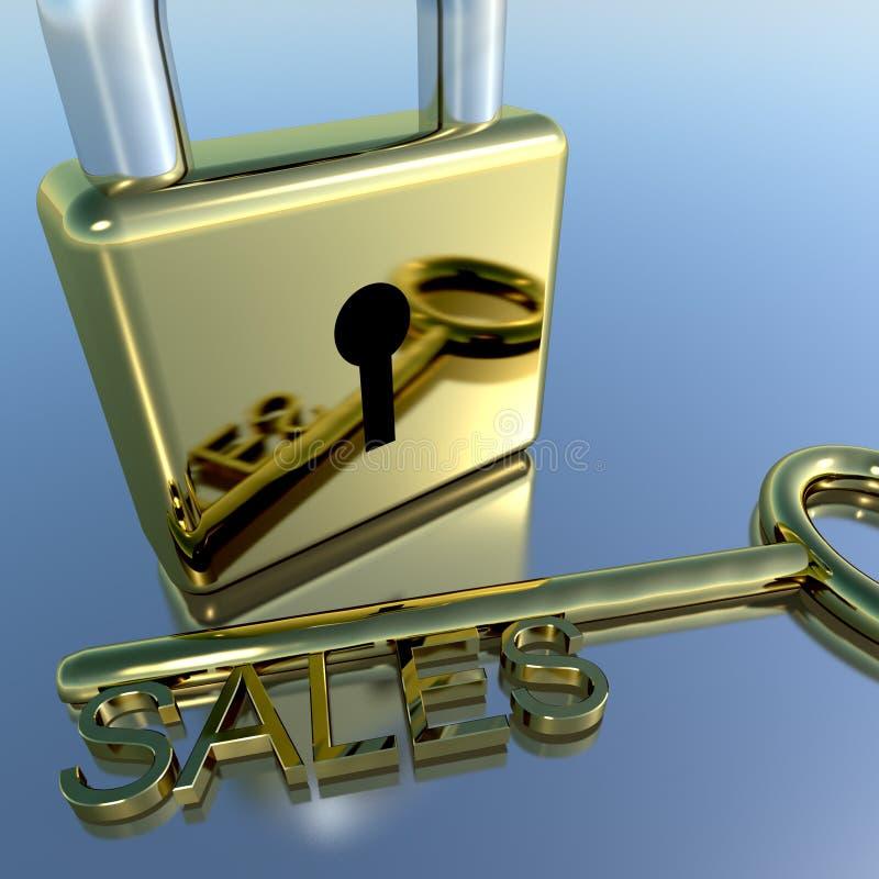 Hänglås med den nyckel- visningen för försäljningar som säljer marknadsföring och kommers royaltyfria bilder
