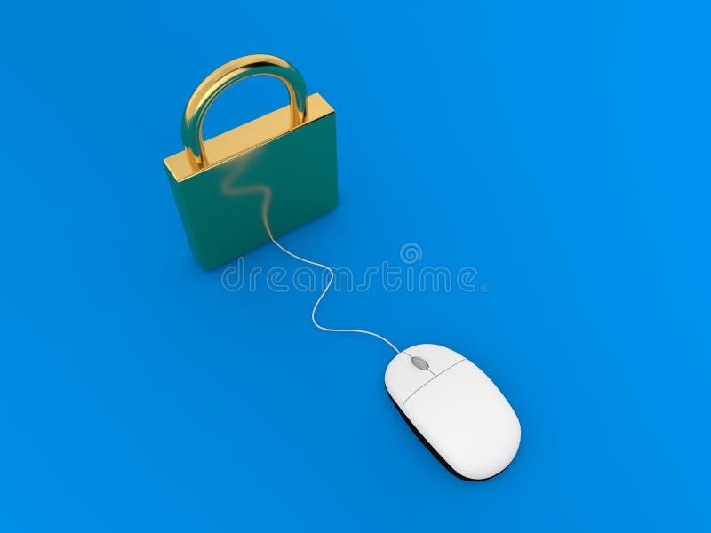 Hänglås- och datormus på en blå bakgrund royaltyfri illustrationer