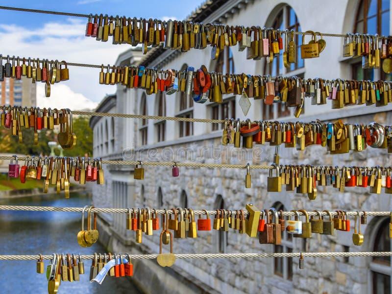 Hänglås på förälskelsebron i Ljubljana royaltyfria foton