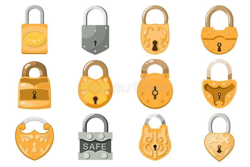 Hänglåsvektorlås för säkerhet och trygghetskydd med den låsta säkra mekanismen som interlock, eller att låsa för lockout royaltyfri illustrationer