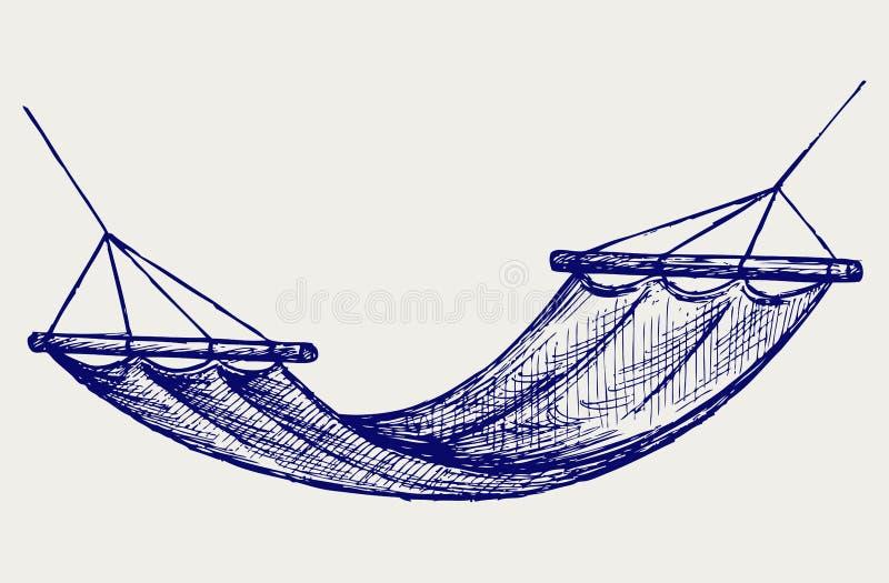 Hängmatta. Upphängningapparat för vila vektor illustrationer