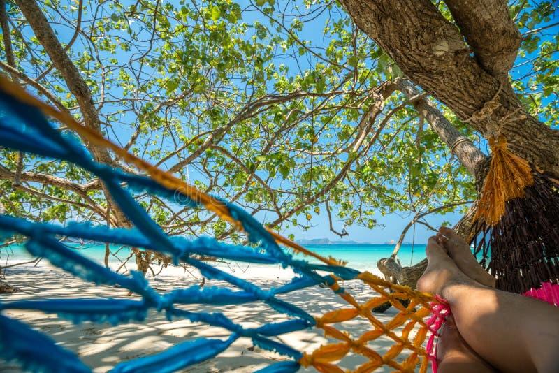 Hängmattaträdremmar hänger över stranden under wid för skuggadagtid royaltyfri bild