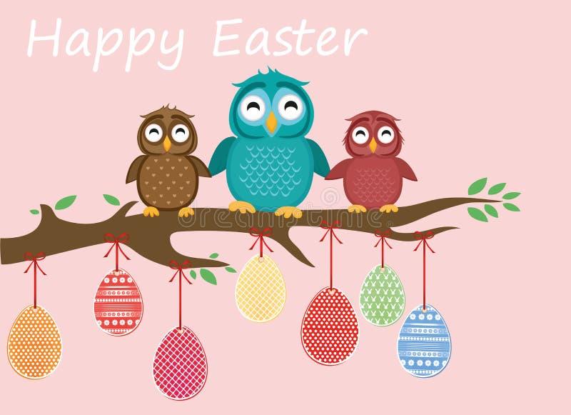 Hängning för påskägg på band Älskvärda ugglor sitter på ett träd royaltyfri illustrationer