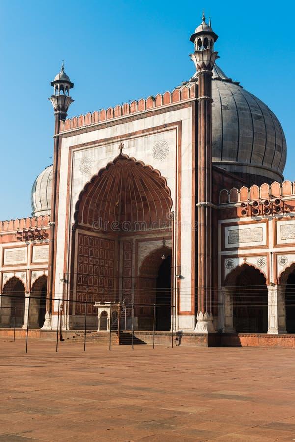 Hänrycka moskén för Jama Masjid, gammala Dehli, Indien royaltyfri bild