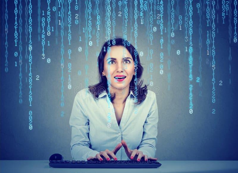 Häpen programvarutekniker för ung kvinna som kodifierar genom att använda ett datorsammanträde i hennes kontor arkivbild