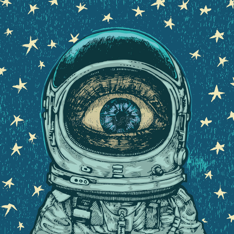 häpnadastronaut stock illustrationer