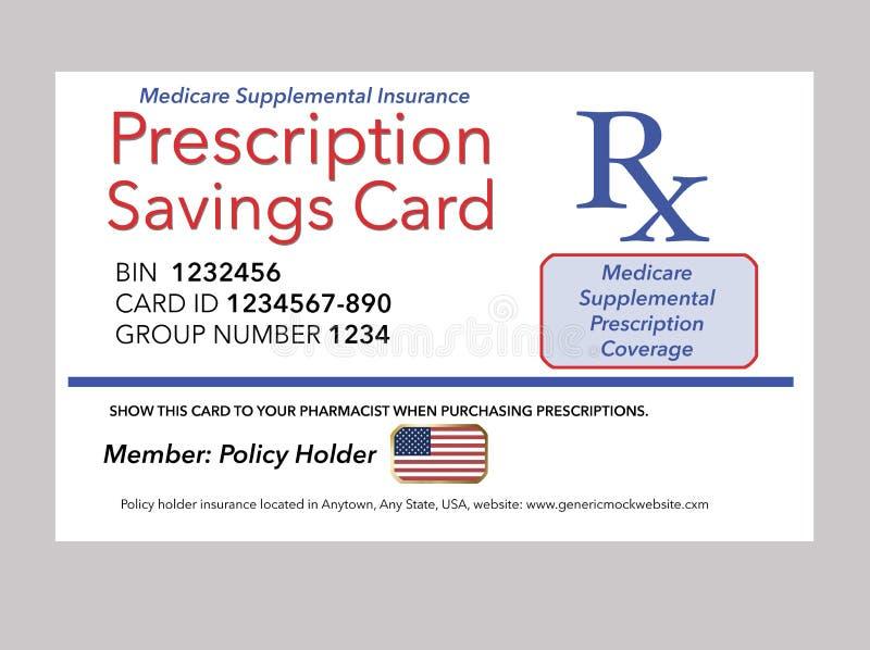 Här är en åtlöje, tillagt försäkringsbesked för det generiska Medicare receptet vektor illustrationer